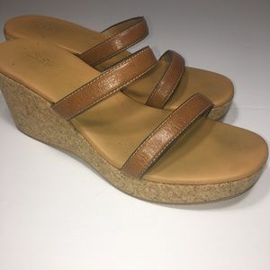 J. Crew Size 10 Leather Strappy Cork Wedge Sandal